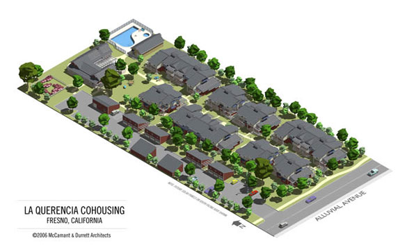 Site plan for Fresno Cohousing built to the highest green building standards